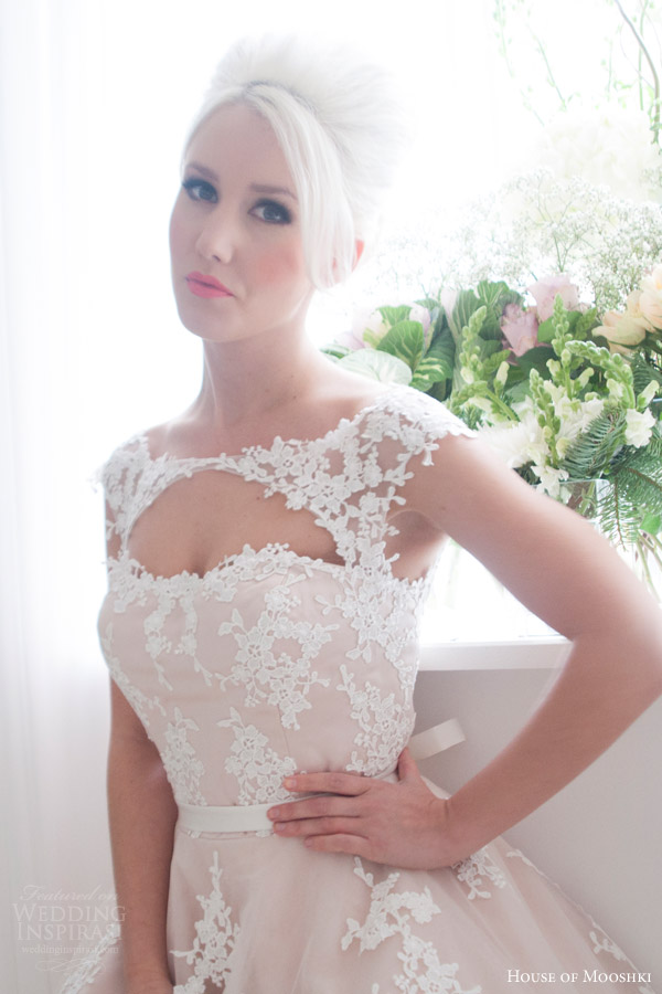 house of mooshki bridal 2016 leonora blush cap sleeve tea length wedding dress guipure lace tulle keyhole front close up