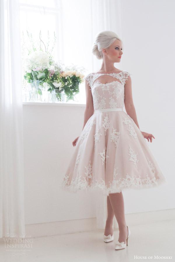 house of mooshki bridal 2016 leonora blush cap sleeve tea length wedding dress guipure lace tulle keyhole front