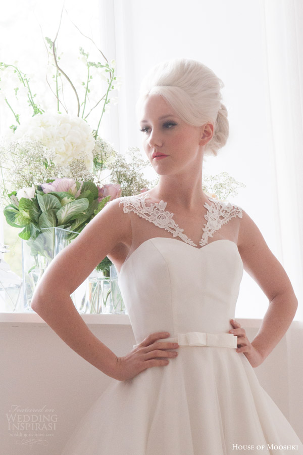 house of mooshki bridal 2016 nora sleeveless calf tea length 1950s wedding dress illusion neckline lace hem detail close up bodice
