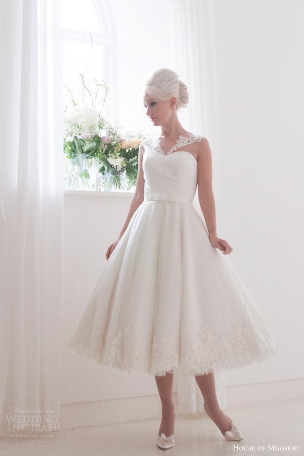 house of mooshki bridal 2016 nora sleeveless calf tea length 1950s wedding dress illusion neckline lace hem detail