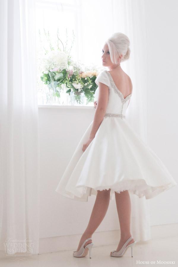 house of mooshki bridal 2016 phoebe cap sleeve tea length wedding dress mikado satin embellished neckline belt back view