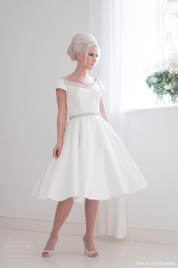 house of mooshki bridal 2016 phoebe cap sleeve tea length wedding dress mikado satin embellished neckline belt