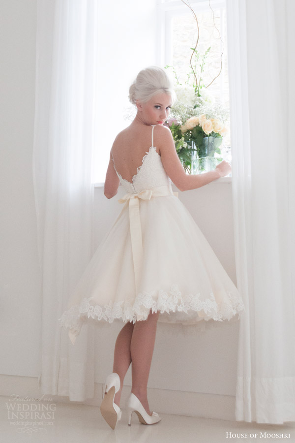 house of mooshki bridal 2016 tilly short tea length wedding dress spaghetti straps vintage style guipure lace appliques back view