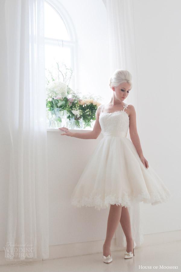 house of mooshki bridal 2016 tilly short tea length wedding dress spaghetti straps vintage style guipure lace appliques