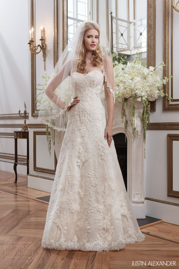 Lillian west 2016 collection win a justin alexander for Lace a line wedding dress with sweetheart neckline