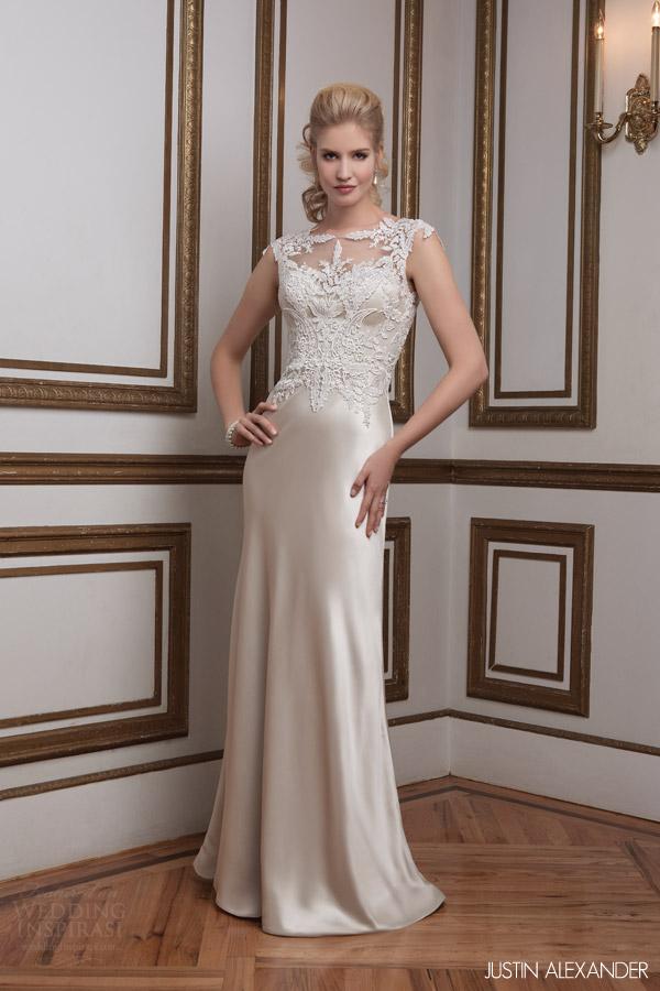 e683bc7af3232 justin alexander 2016 bridal 8792 cap sleeve sheath wedding dress lace  bodice