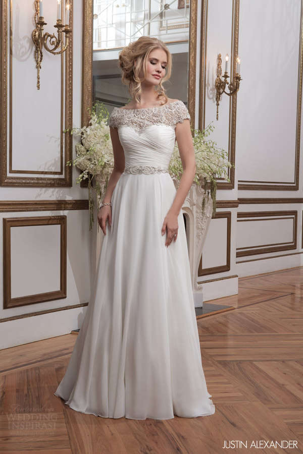justin alexander 2016 bridal 8799 embellished cap sleeve a line wedding dress ruched bodice beaded waist