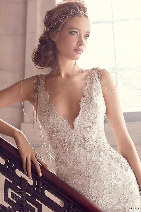 Lazaro Spring 2017 Bridal Style 3501 Wedding Dress Alencon Lace Trumpet V Neckline Beaded Necklace Jeweled