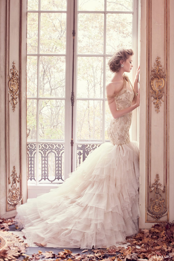 lazaro spring 2015 style 3509 champagne strapless fit flare wedding dress embroidered bodice full view skirt
