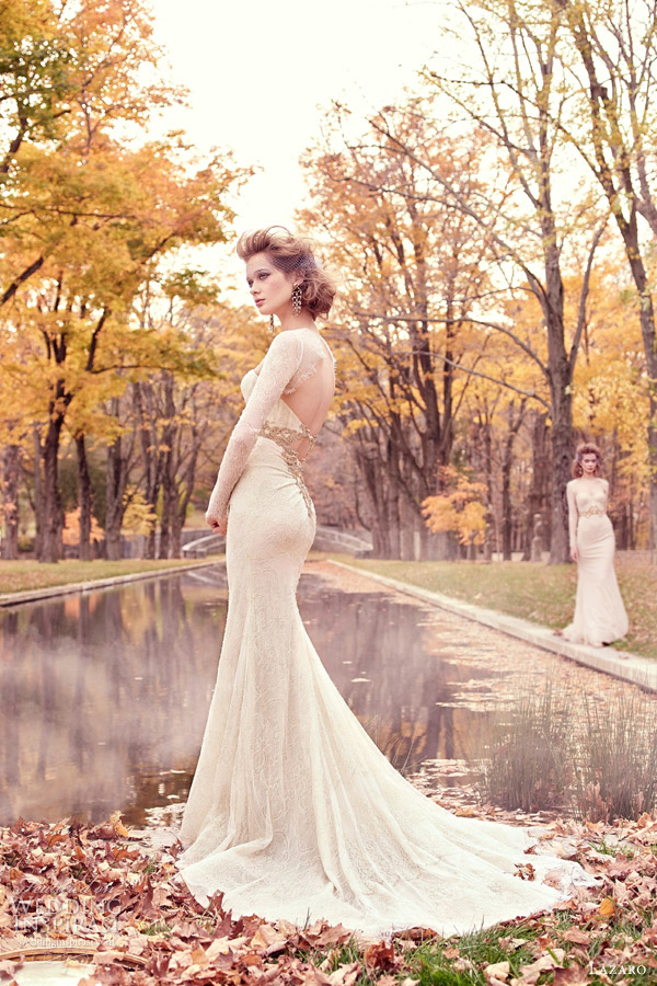 lazaro spring 2015 style 3512 wedding dress chantilly lace trumpet gown long sleeves corseted lace golden jewel sweetheart keyhole chapel train back view