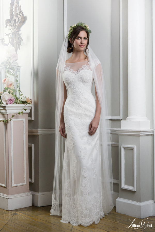 lillian west 2016 bridal preview style 6375 illusion neckline cap sleeves lace wedding dress
