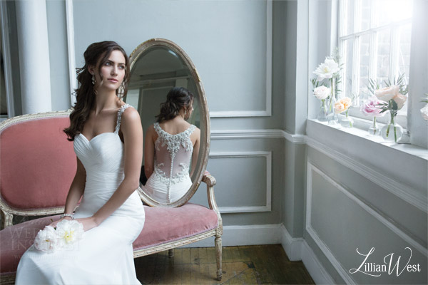 lillian west 2016 bridal preview style 6376 sleeveless wedding dress beaded illuson back