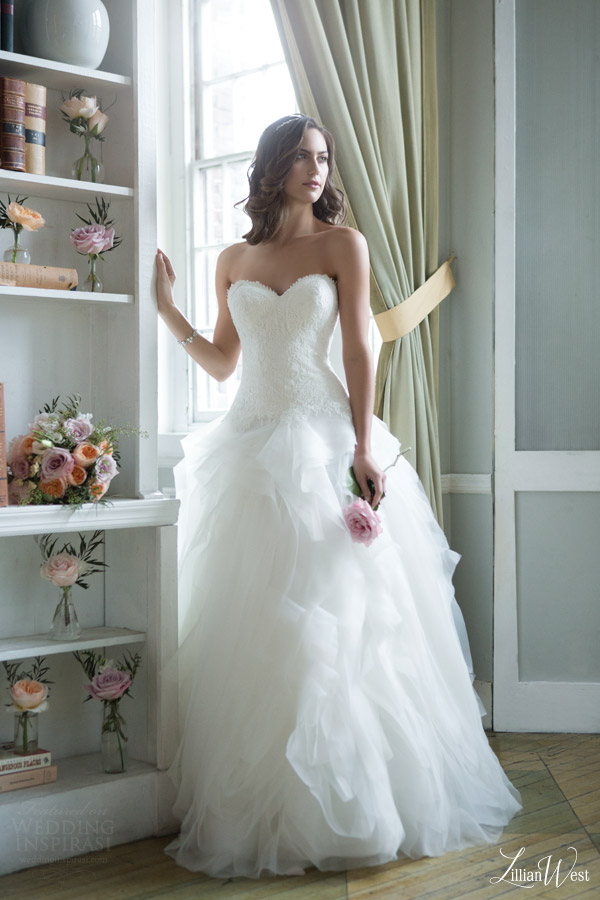 lillian west 2016 bridal preview style 6379 strapless ball gown wedding dress sweetheart neckline flange layered skirt