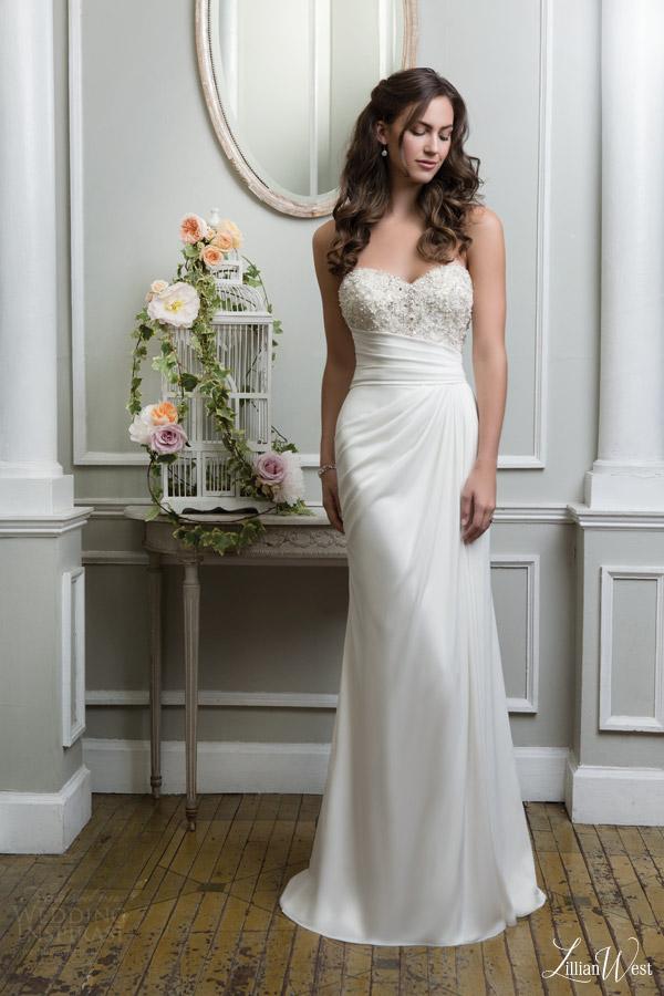 lillian west 2016 bridal preview style 6382 strapless wedding dress draped skirt beaded sweetheart bodice