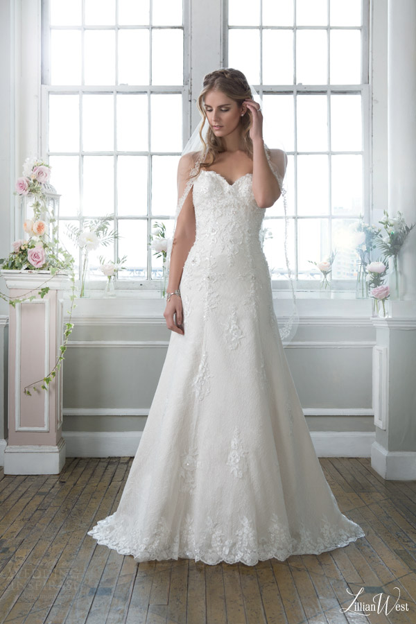 lillian west 2016 bridal preview style 6384 strapless a line wedding dress sweetheart neckline applique