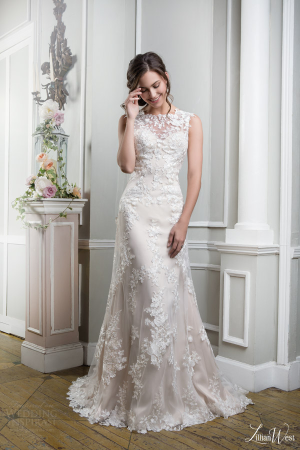 lillian west 2016 bridal preview style 6385 sleeveless sheath wedding dress lace overlay