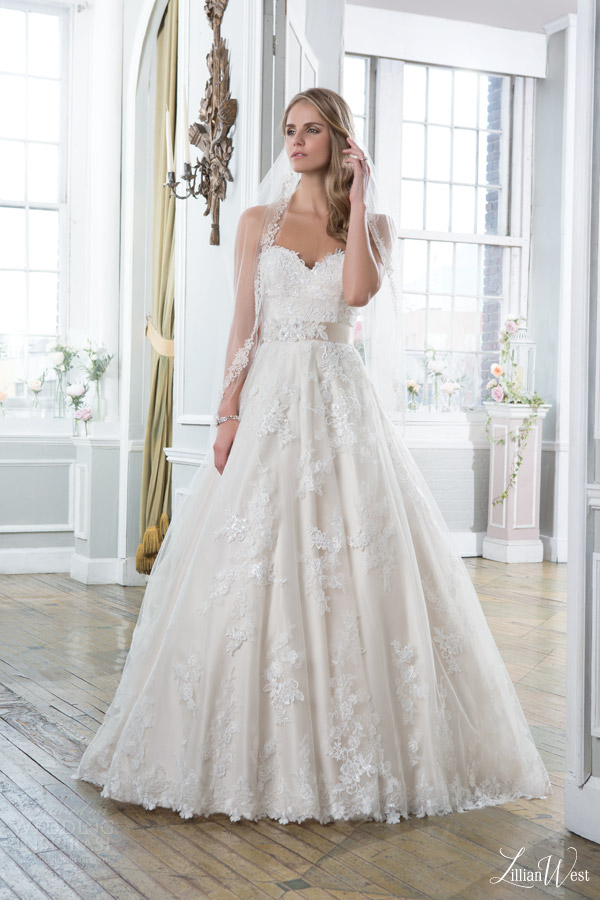 lillian west 2016 bridal preview style 6386 strapless ball gown wedding dress sweetheart neckline colored base lace