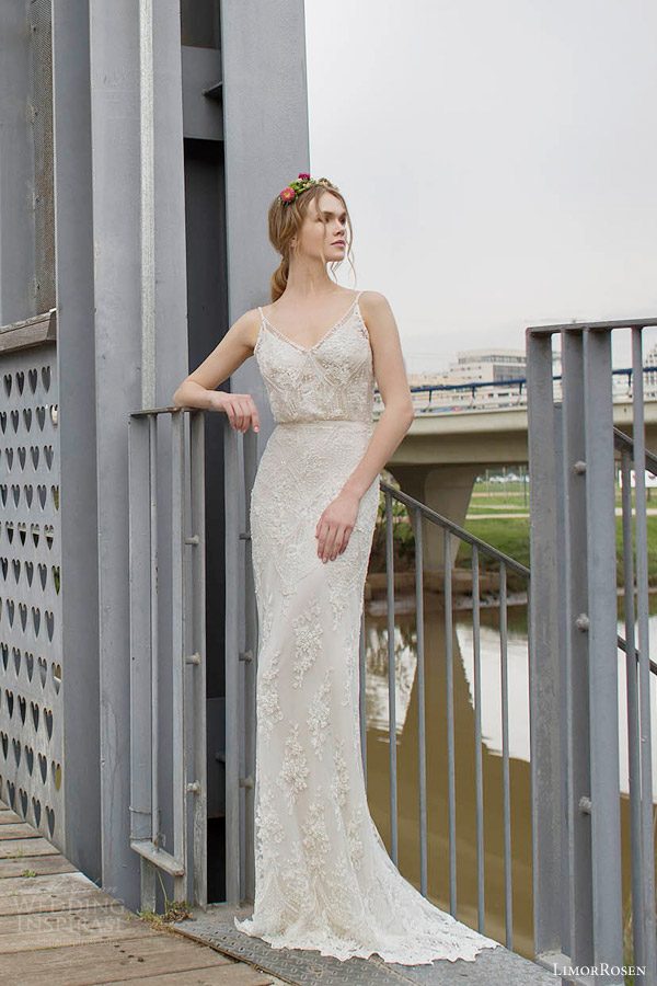 Limor Rosen 2017 Norma Sleeveless Beaded Sheath Blouson Art Deco Wedding Dress Straps