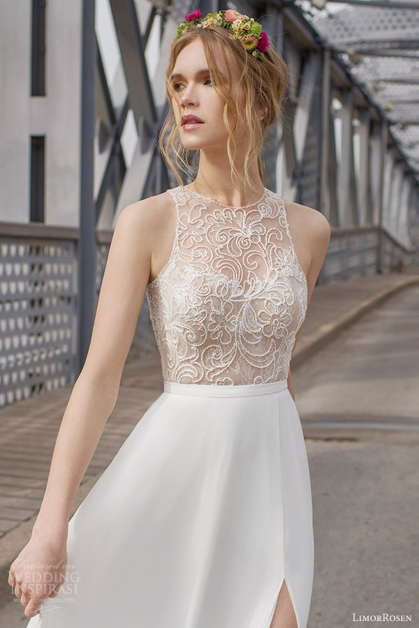limor rosen 2015 olivia sleeveless wedding dress slit skirt illusion ...
