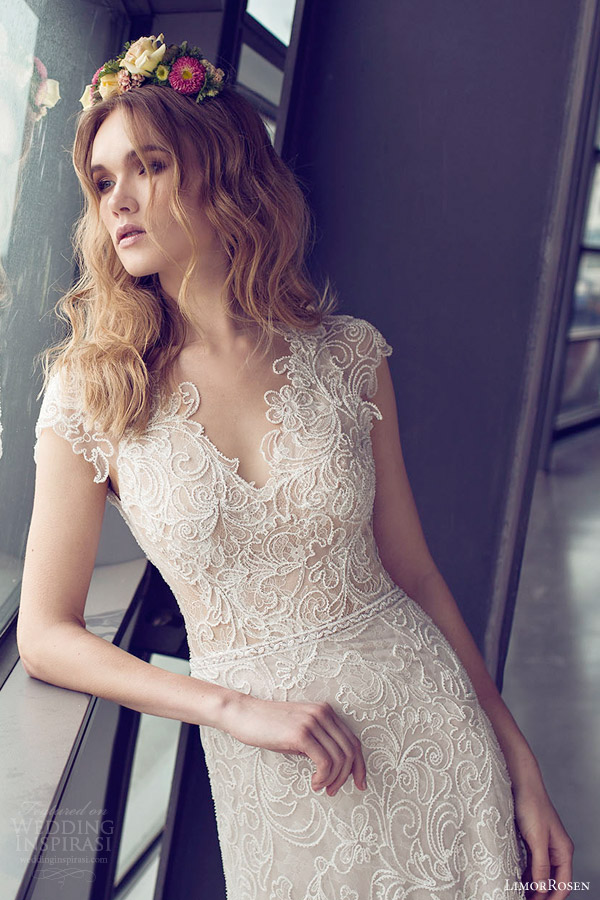 limor rosen bridal 2015 clara cap sleeve lace sheath wedding dress close up bodice