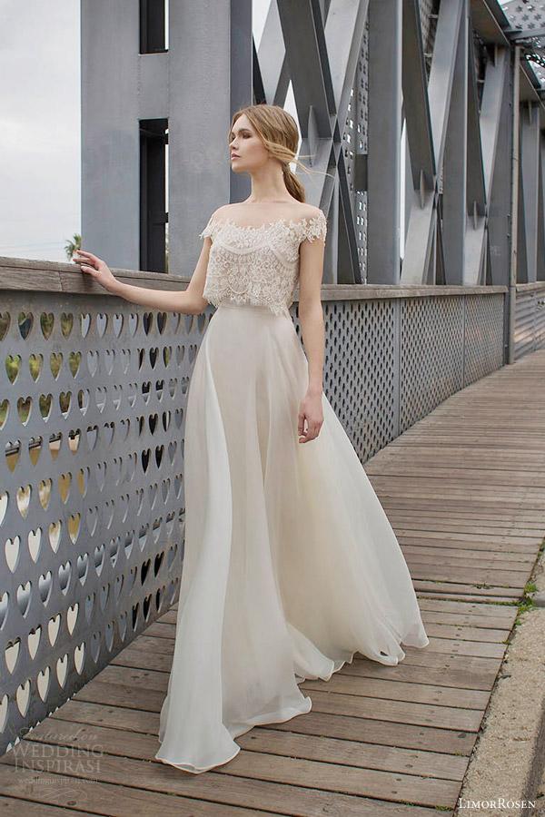 limor rosen bridal 2015 diana two piece wedding dress crop lace cap sleeve top a line skirt