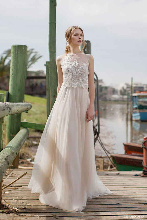 Limorrosen 2015 wedding dresses wedding inspirasi for Wedding dress with illusion top