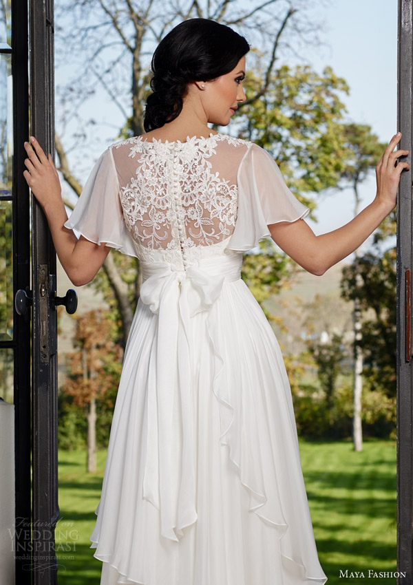Maya fashion 2015 wedding dresses royal bridal for Flutter sleeve wedding dress