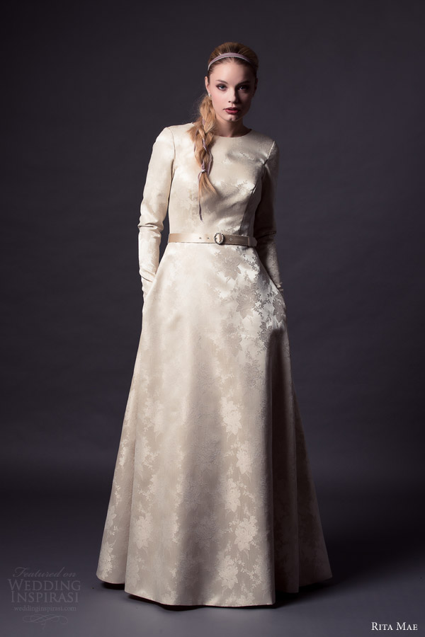 Rita Mae By Alan Hannah 2015 Bridal Long Sleeve Wedding Dress Pastel Colored Gown Buttons Front