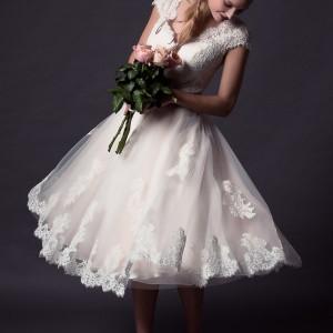 rita mae by alan hannah 2015 bridal short cap sleeve lace wedding dress tea length style 501