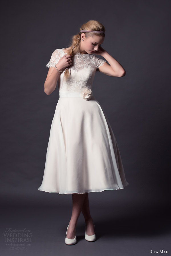 Wedding Dresses Tea Length With Sleeves 62 Ideal rita mae by alan