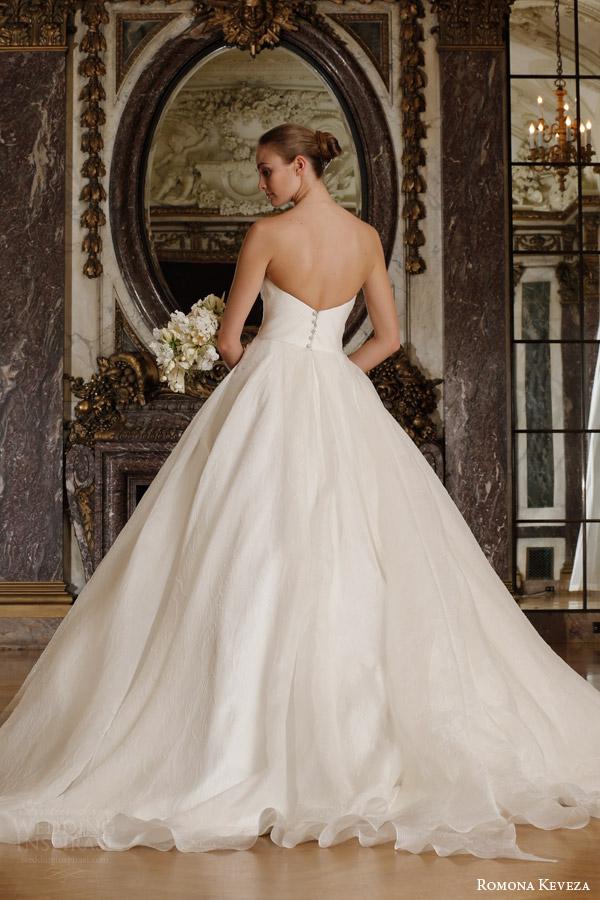 romona keveza spring 2016 luxe bridal rk6400 strapless ball gown wedding dress italian silk jacquard organza draped sweetheart back