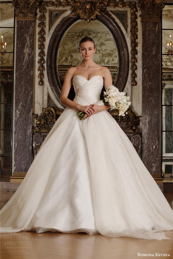 romona keveza spring 2016 luxe bridal rk6400 strapless ball gown wedding dress italian silk jacquard organza draped sweetheart