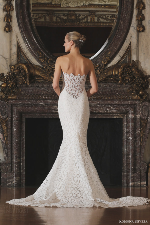 romona keveza spring 2016 luxe bridal rk6402 strapless wedding dress fluted shaped mermaid gown star flower lace back view train