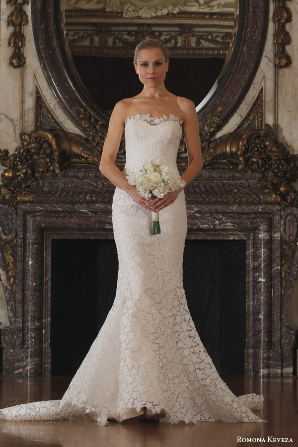 romona keveza spring 2016 luxe bridal rk6402 strapless wedding dress fluted shaped mermaid gown star flower lace
