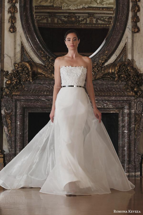 romona keveza spring 2016 luxe bridal rk6403 strapless 4 ply silk crepe wedding dress detachable illusion skirt