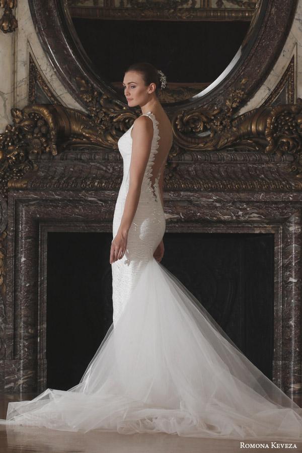 romona keveza spring 2016 luxe bridal rk6404 sleeveless deep v neck sheath wedding dress doves of peace lace italian net train side