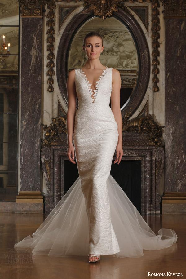 romona keveza spring 2016 luxe bridal rk6404 sleeveless deep v neck sheath wedding dress doves of peace lace italian net train