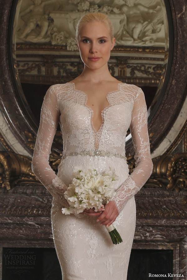 romona keveza spring 2016 luxe bridal rk6405 long sleeve v neck sheath wedding dress beaded chantilly lace swarovski belt illusion close up