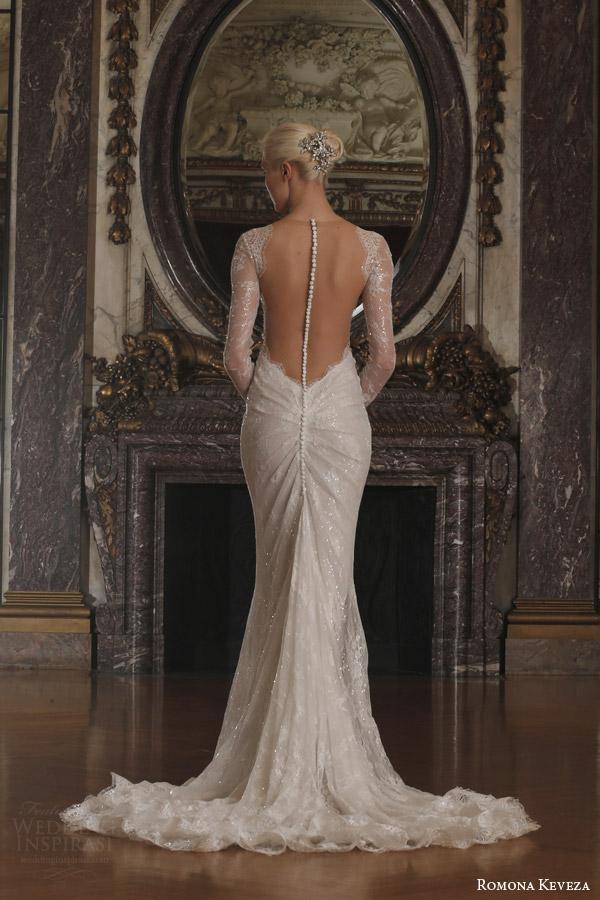 romona keveza spring 2016 luxe bridal rk6405 long sleeve v neck sheath wedding dress beaded chantilly lace swarovski belt illusion open back train