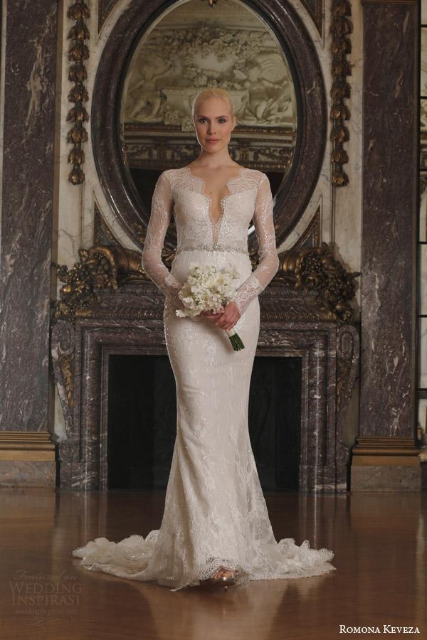romona keveza spring 2016 luxe bridal rk6405 long sleeve v neck sheath wedding dress beaded chantilly lace swarovski belt illusion open back
