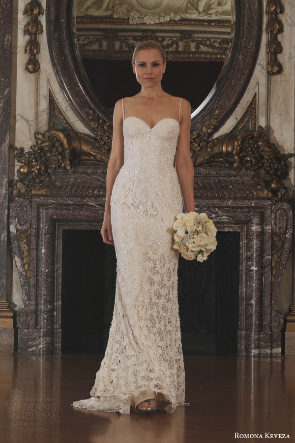 romona keveza spring 2016 luxe bridal rk6406 sleeveless guipure lace wedding dress straps corset bodice