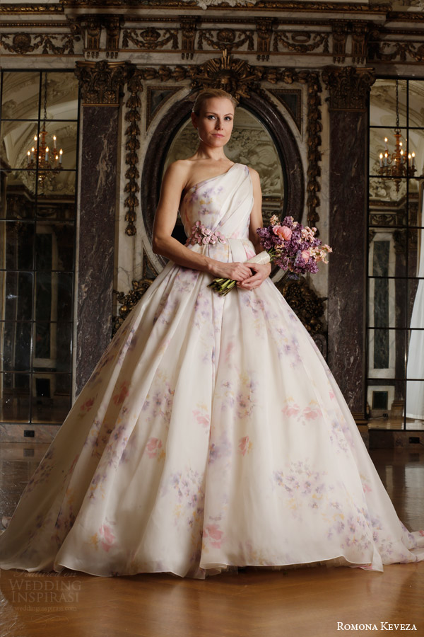 romona keveza spring 2016 luxe bridal rk6407 one shoulder ball gown wedding dress italian silk organza soft pastel viola print enamel floral brooch