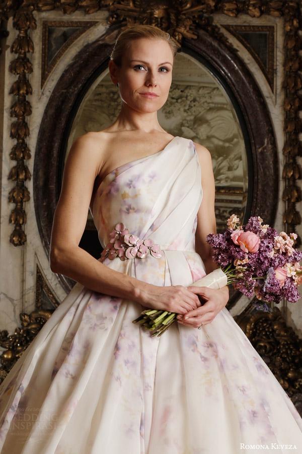 romona keveza spring 2016 luxe bridal rk6407 one shoulder ball gown wedding dress italian silk organza soft pastel viola print italian enamel floral brooch close up