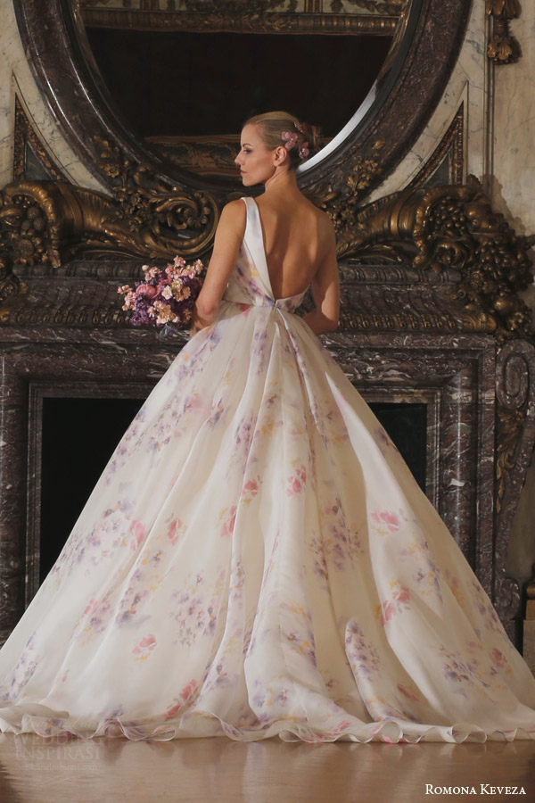 romona keveza spring 2016 luxe bridal rk6407 one shoulder ball gown wedding dress italian silk organza soft pastel viola print italian enamel floral brooch side