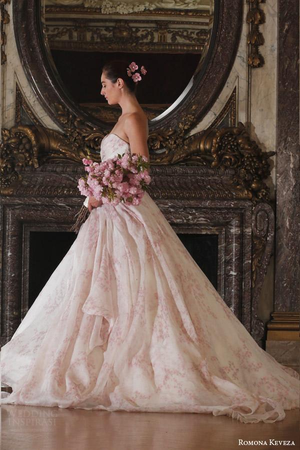 romona keveza spring 2016 luxe bridal rk6408 strapless ball gown wedding dress italian silk organza blush cherry blossom print side