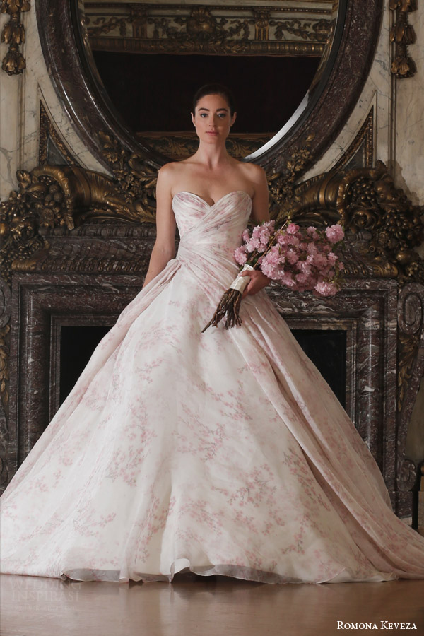 romona keveza spring 2016 luxe bridal rk6408 strapless ball gown wedding dress italian silk organza blush cherry blossom print