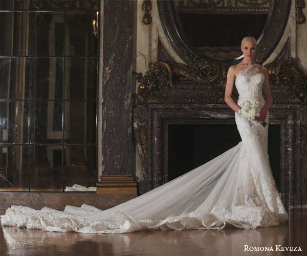 romona keveza spring 2016 luxe bridal rk6410 one shoulder mermaid wedding dress detachable train french net reembroidered ribbon lace swarovski crystals dramatic train