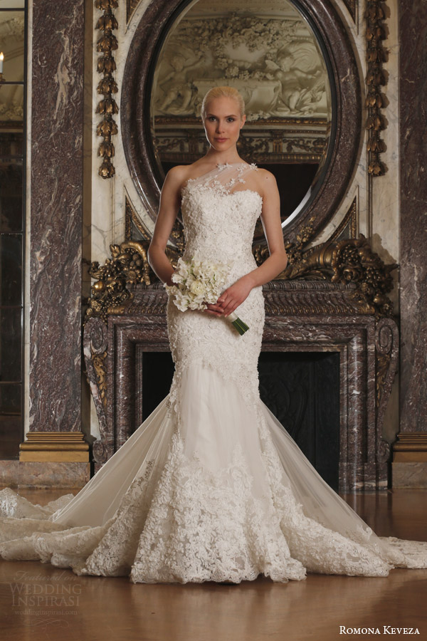 romona keveza spring 2016 luxe bridal rk6410 one shoulder mermaid wedding dress detachable train french net reembroidered ribbon lace swarovski crystals