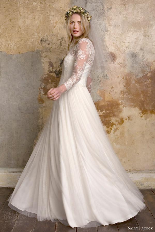 sally lacock bridal 2015 sylvie 1950s vintage style wedding dress illusion neckline long sleeves side view twirl
