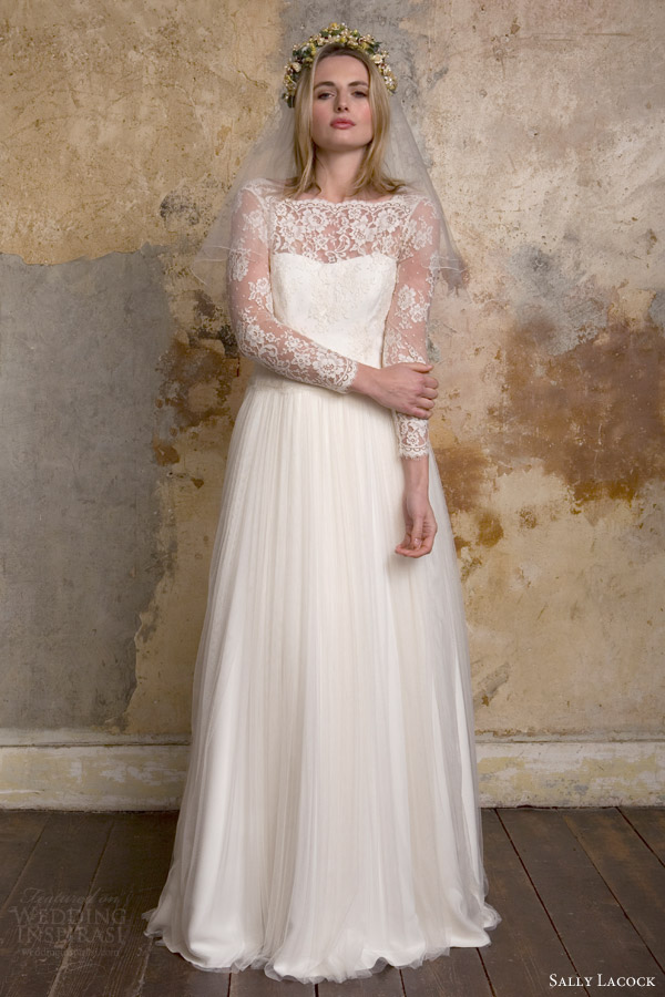 Sally Lacock Bridal 2015 Sylvie 1950s Vintage Style Wedding Dress Illusion  Neckline Long Sleeves